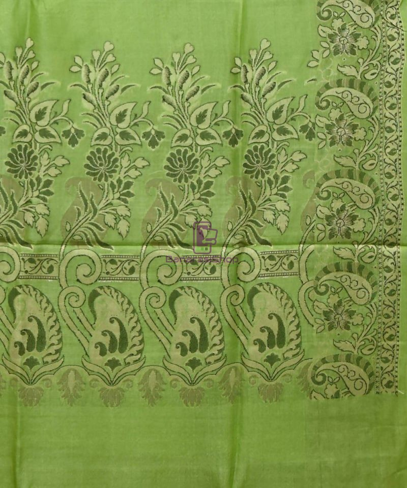 Woven Pure Tussar Silk Banarasi Saree in Pear Green 3