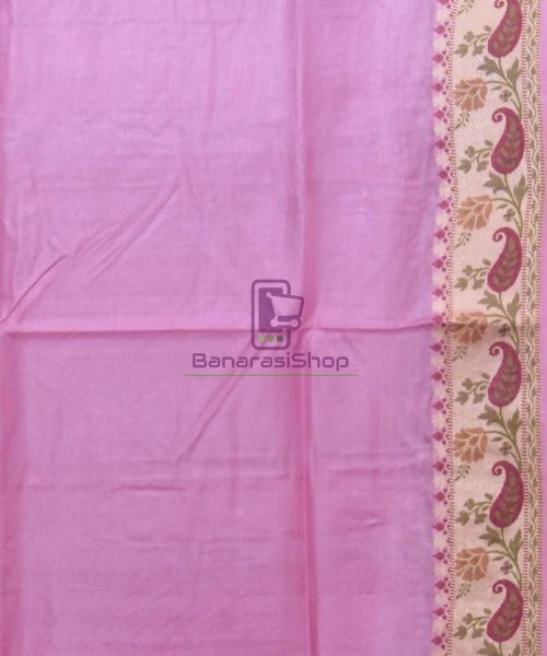 Woven Pure Tussar Silk Banarasi Saree in Lilac Purple 7