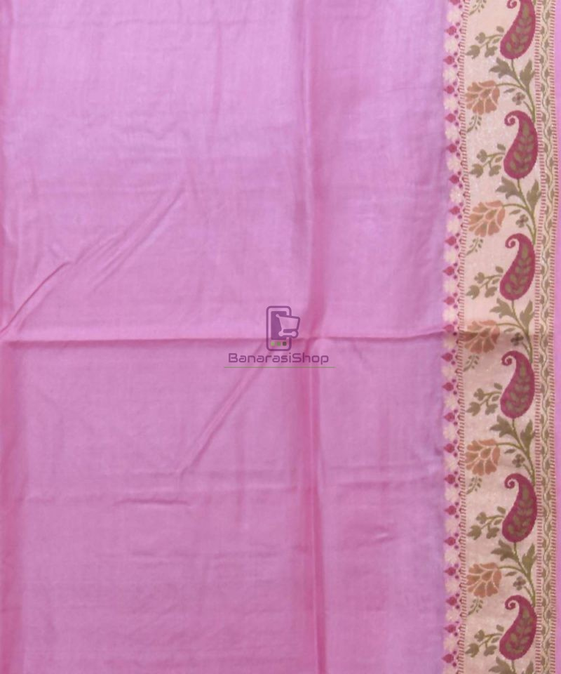 Woven Pure Tussar Silk Banarasi Saree in Lilac Purple 4