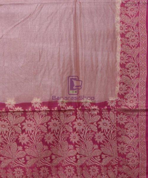 Woven Pure Tussar Silk Banarasi Saree in Rose Pink 5