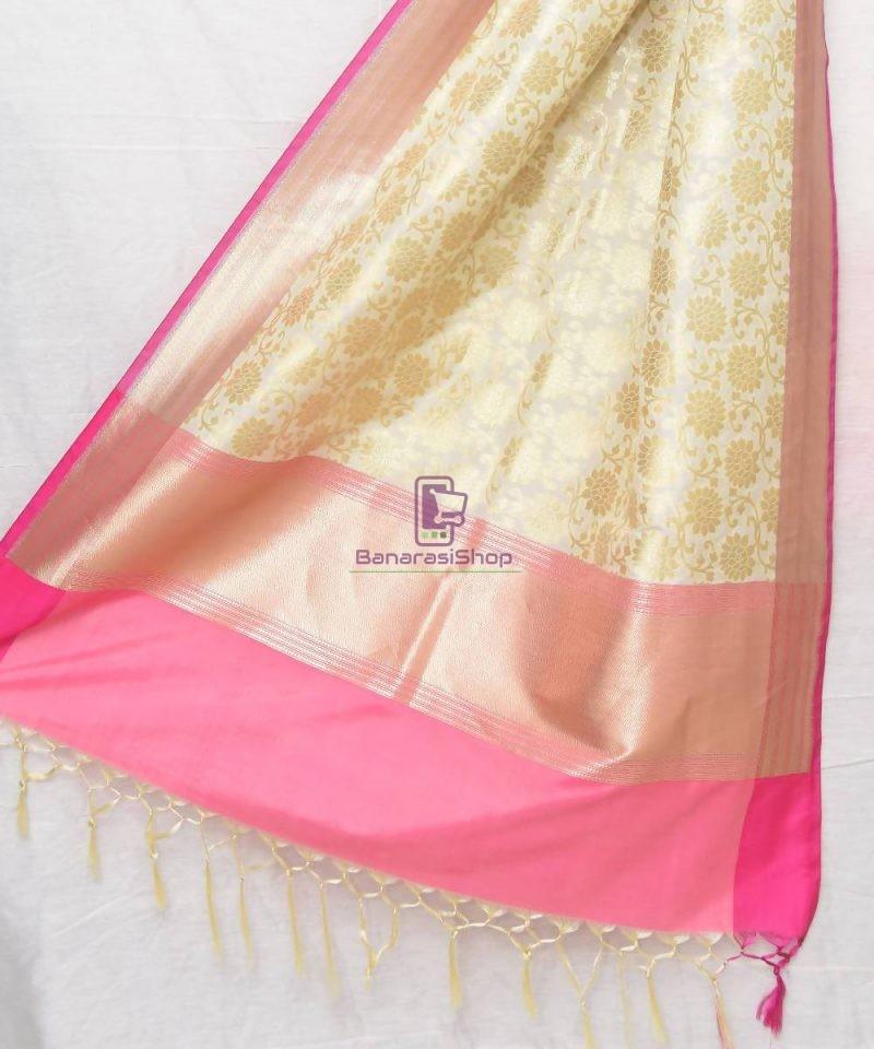 Woven Banarasi Art Silk Dupatta in Off White 1