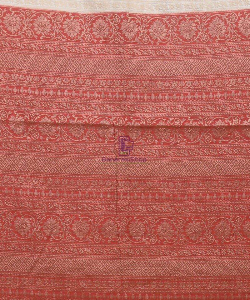 Woven Pure Muga Silk Banarasi Saree in Bone White 3