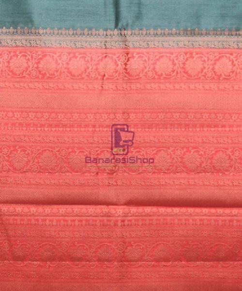 Woven Pure Muga Silk Banarasi Saree in Green 6