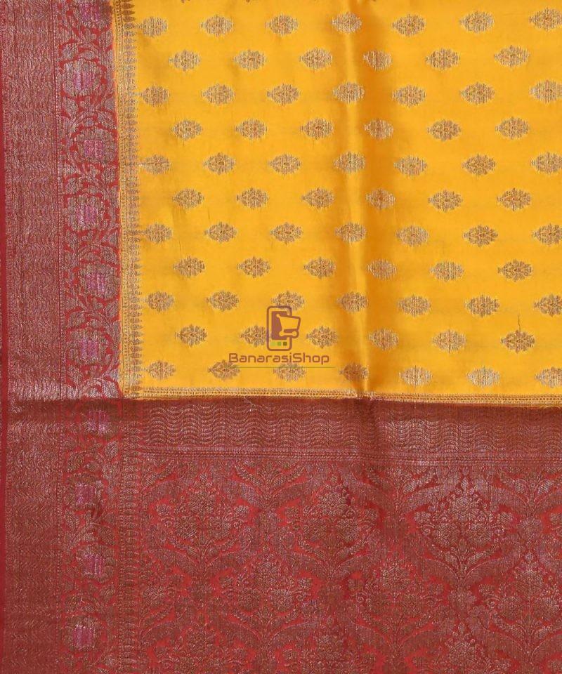 Pure Silk Banarasi Dupion Katan Handloom Saree in Merigold 2