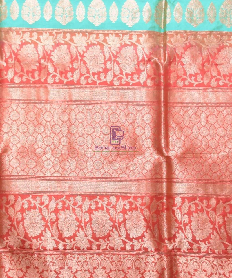 Banarasi Pure Katan Silk Handloom Sky Blue Saree 3