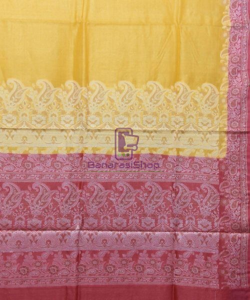 Woven Pure Tussar Silk Banarasi Saree in Canary Yellow 5