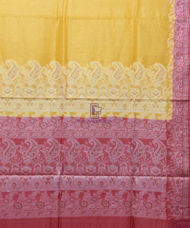 Woven Pure Tussar Silk Banarasi Saree in Canary Yellow 2