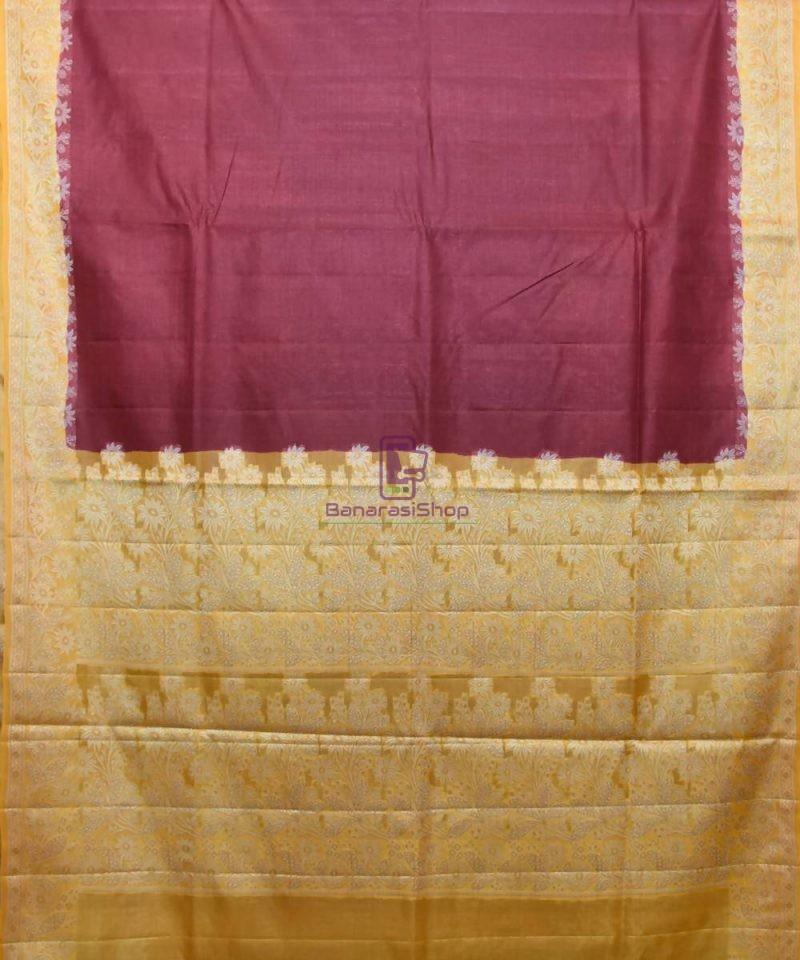 Woven Pure Tussar Silk Banarasi Saree in Plum Purple 1