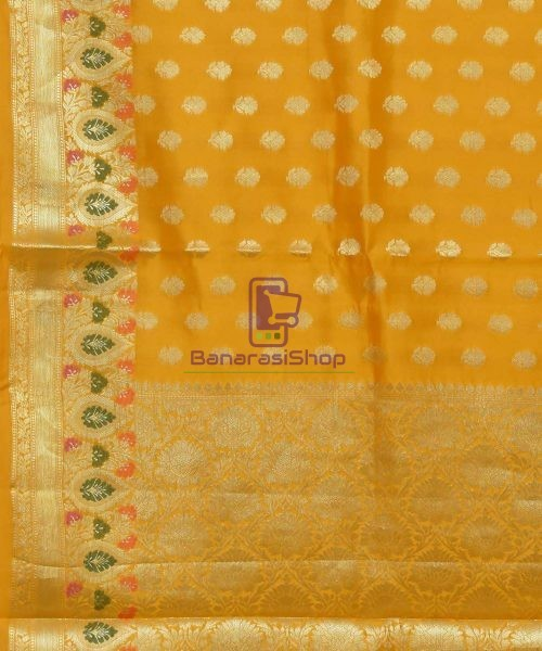 Pure Silk Banarasi Dupion Katan Handloom Saree in Yellow 5