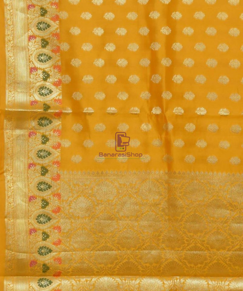 Pure Silk Banarasi Dupion Katan Handloom Saree in Yellow 2