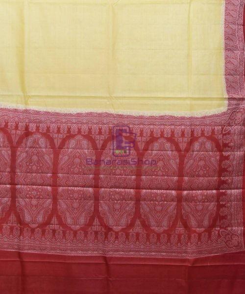 Woven Pure Tussar Silk Banarasi Saree in Cream 5