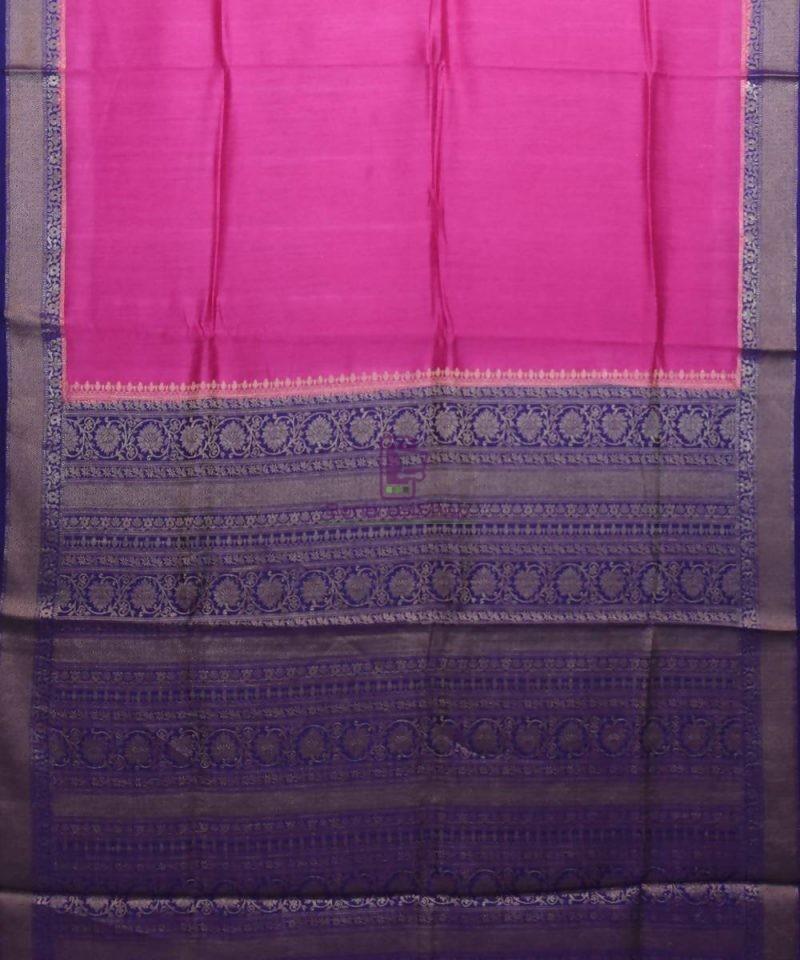 Woven Pure Muga Silk Banarasi Saree in Magenta 1