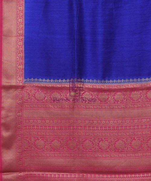 Woven Pure Muga Silk Banarasi Saree in Navy Blue 5