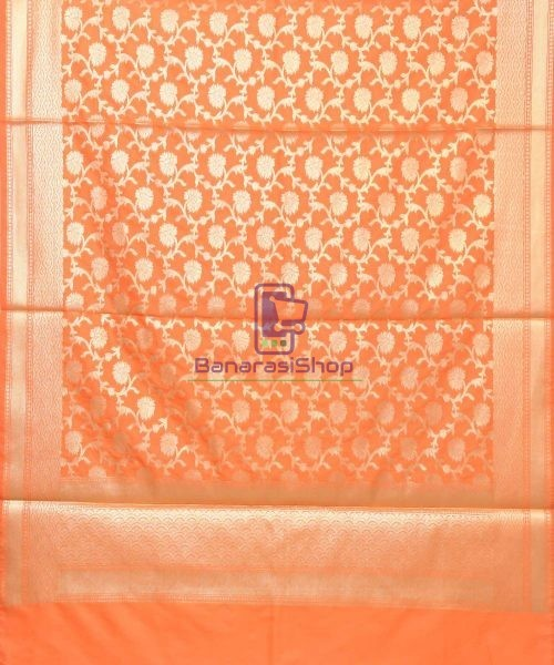 Woven Banarasi Art Silk Dupatta in Orange 3