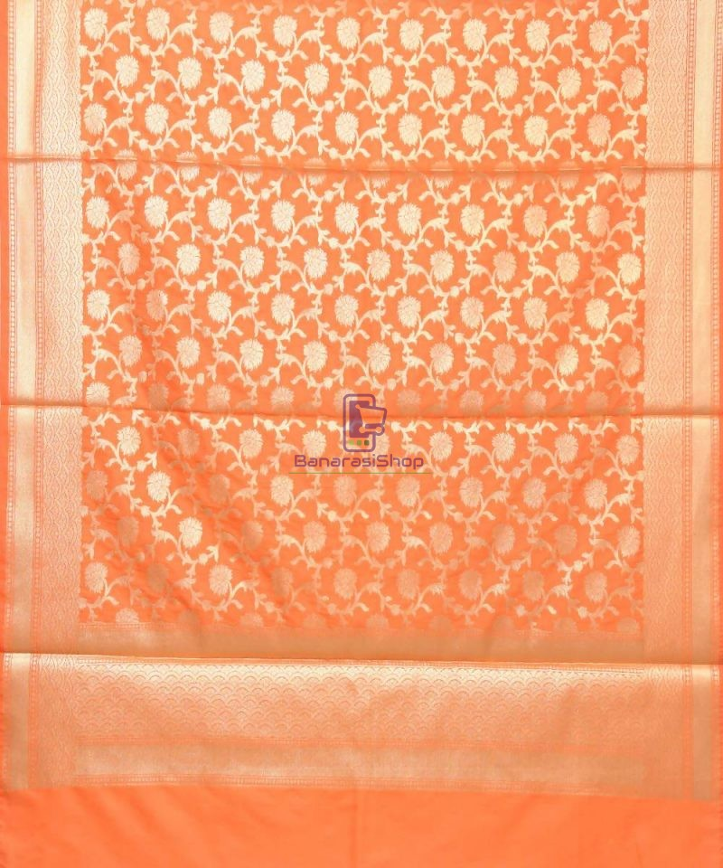 Woven Banarasi Art Silk Dupatta in Orange 2