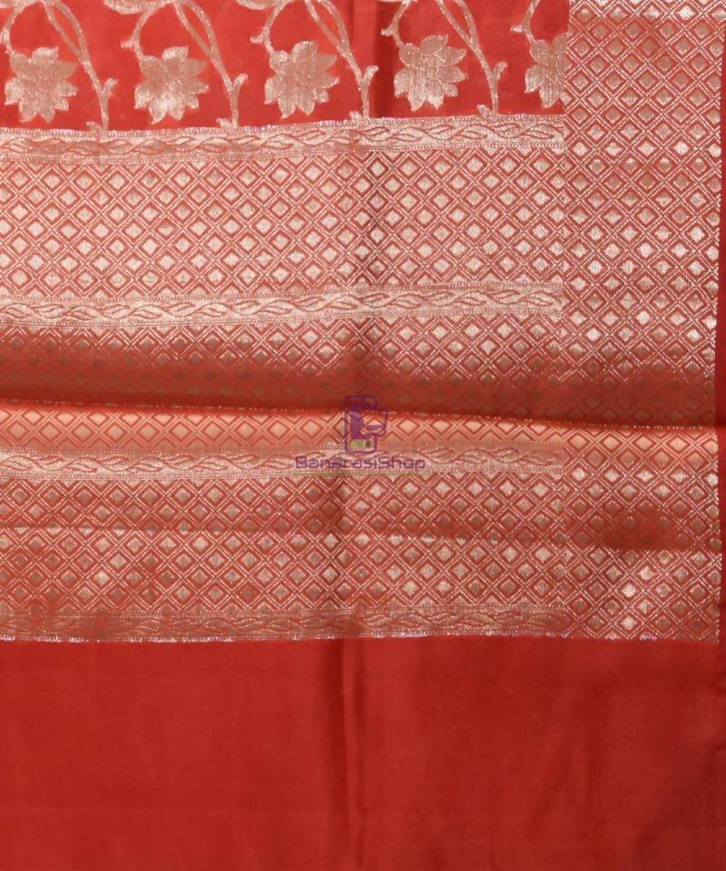 Pure Silk Banarasi Dupion Katan Handloom Saree in Rust Orange 3