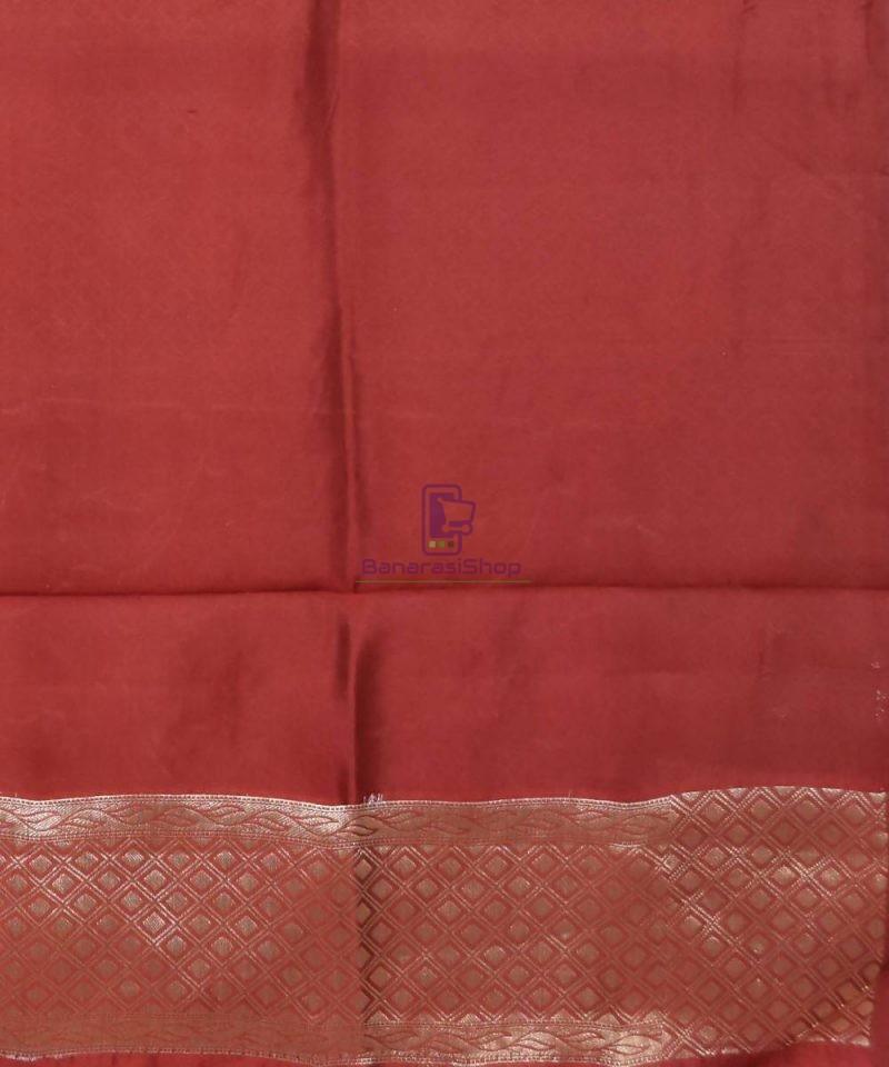 Pure Silk Banarasi Dupion Katan Handloom Saree in Rosewood 4