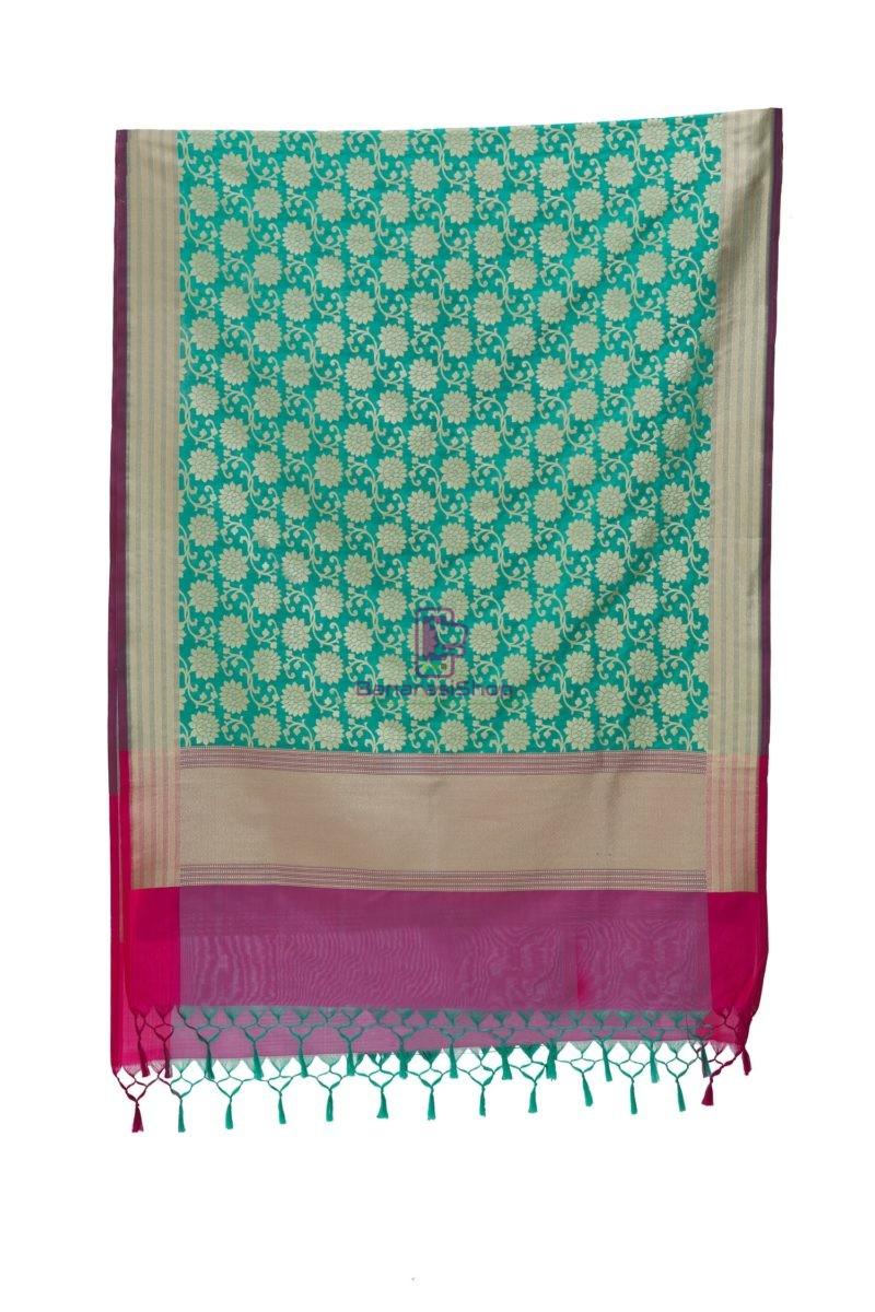 Woven Banarasi Art Silk Dupatta in Turquoise 5