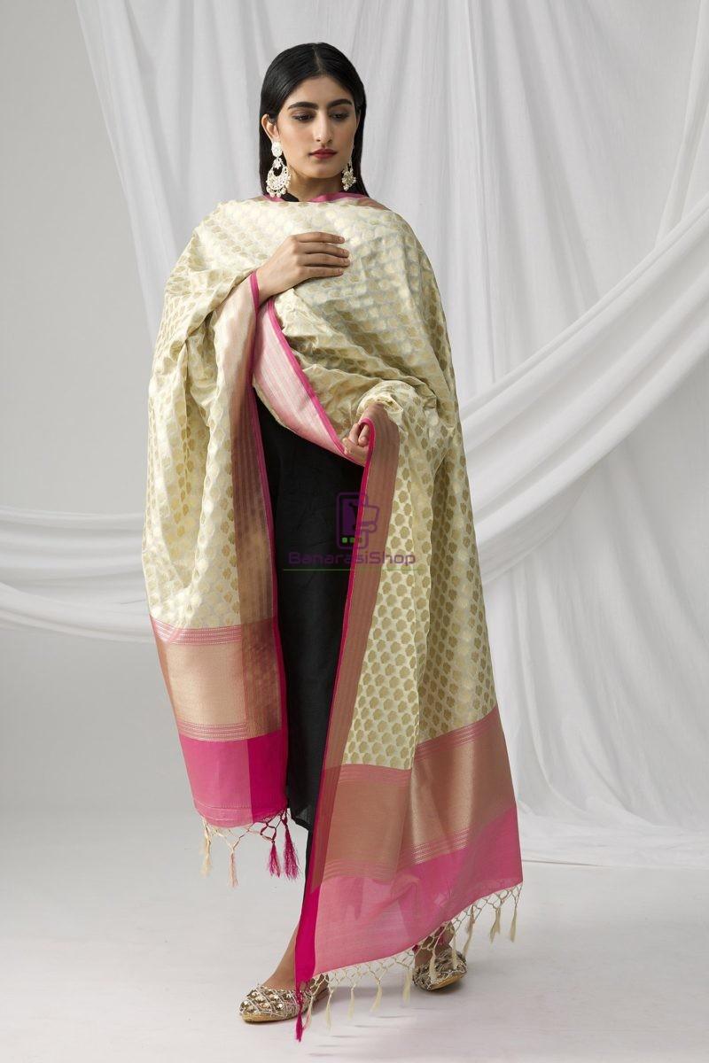 Woven Banarasi Art Silk Dupatta in White 1