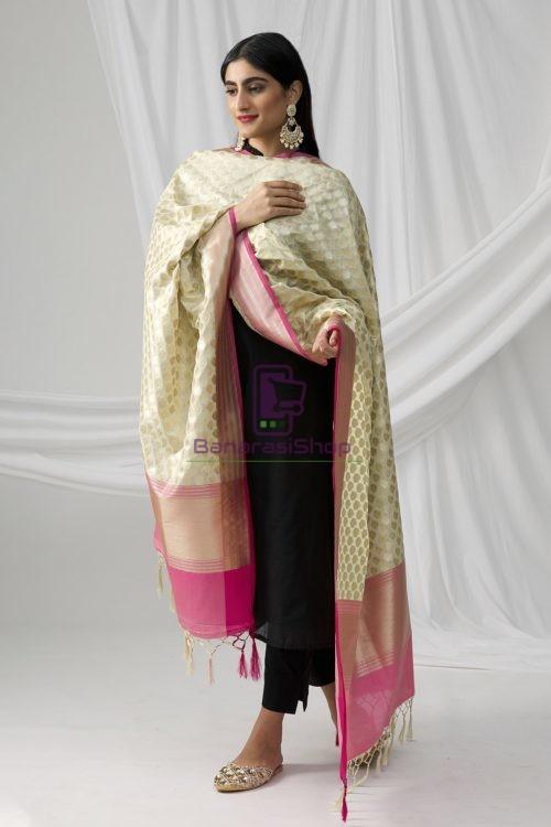 Woven Banarasi Art Silk Dupatta in White 6