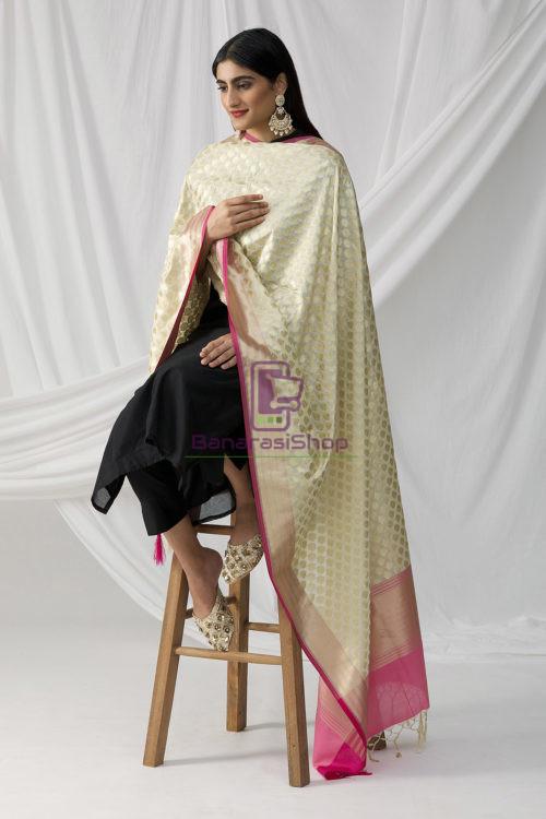 Woven Banarasi Art Silk Dupatta in White 9