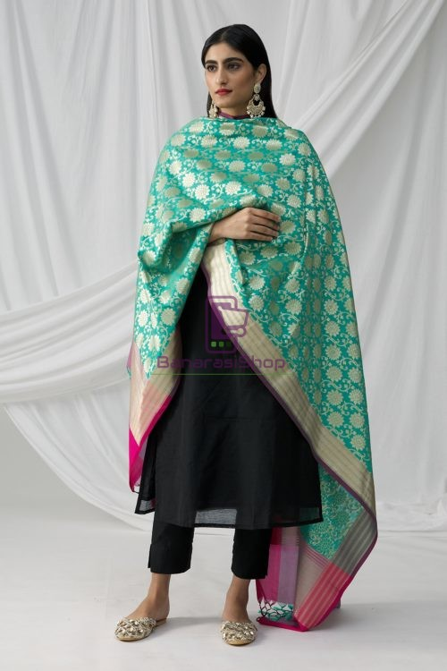 Woven Banarasi Art Silk Dupatta in Turquoise 8