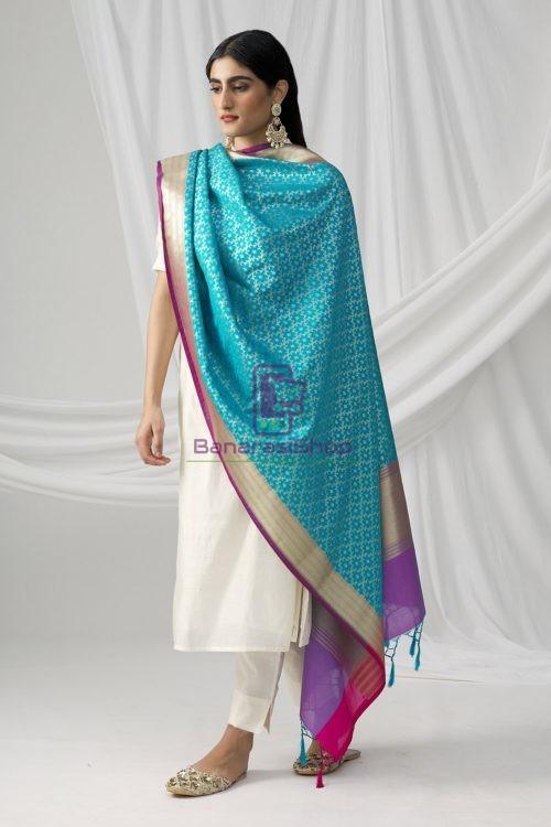 Woven Banarasi Art Silk Dupatta in Sky Blue 5