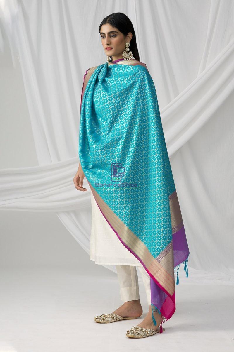 Woven Banarasi Art Silk Dupatta in Sky Blue 4