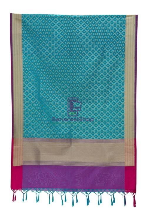 Woven Banarasi Art Silk Dupatta in Sky Blue 6
