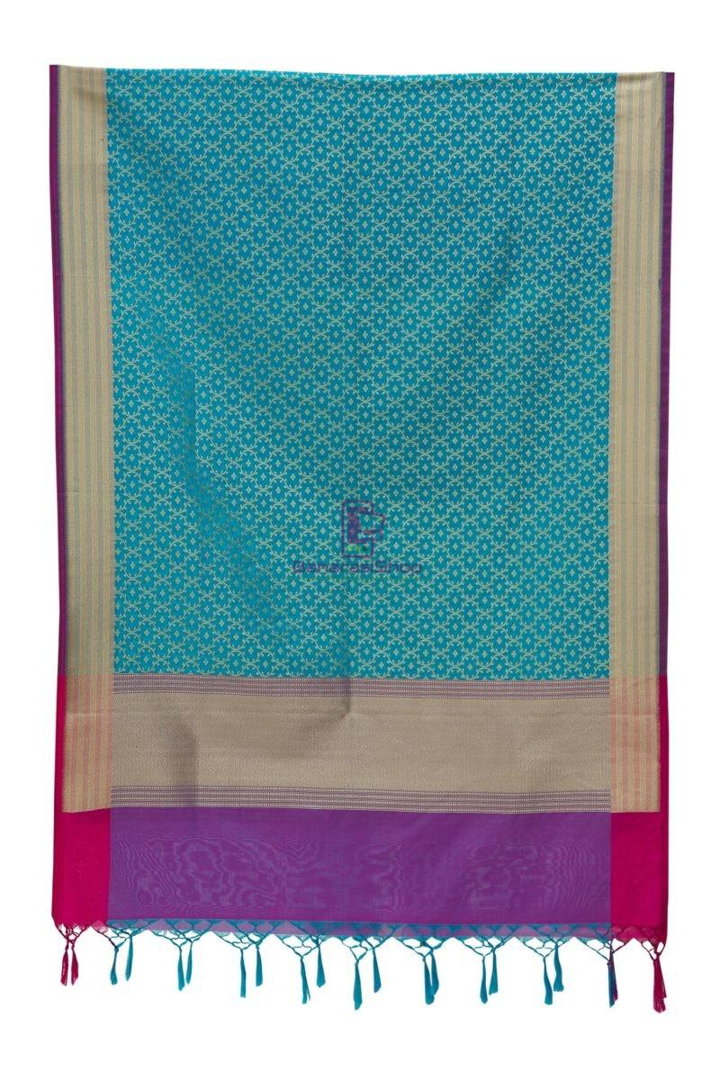 Woven Banarasi Art Silk Dupatta in Sky Blue 3