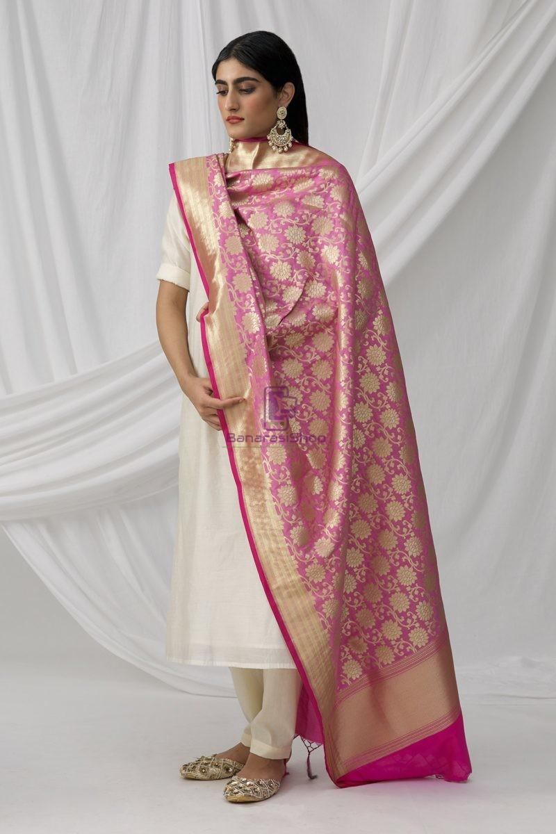 Woven Banarasi Art Silk Dupatta in Pink 5