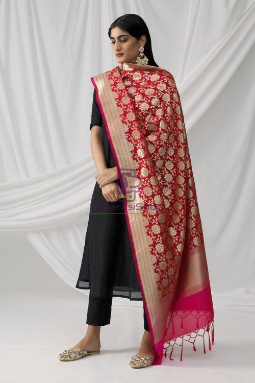 Woven Banarasi Art Silk Dupatta in Red 6