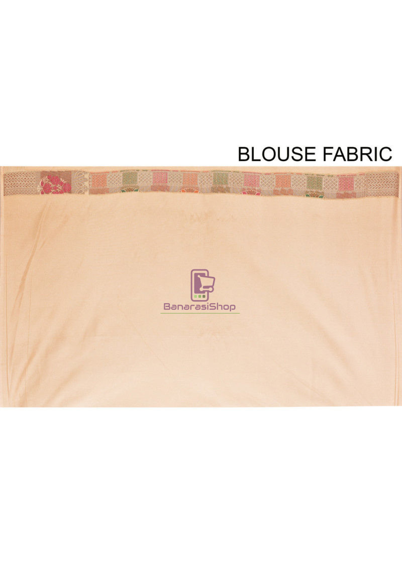 Woven Banarasi Cotton Silk Saree in Beige 4