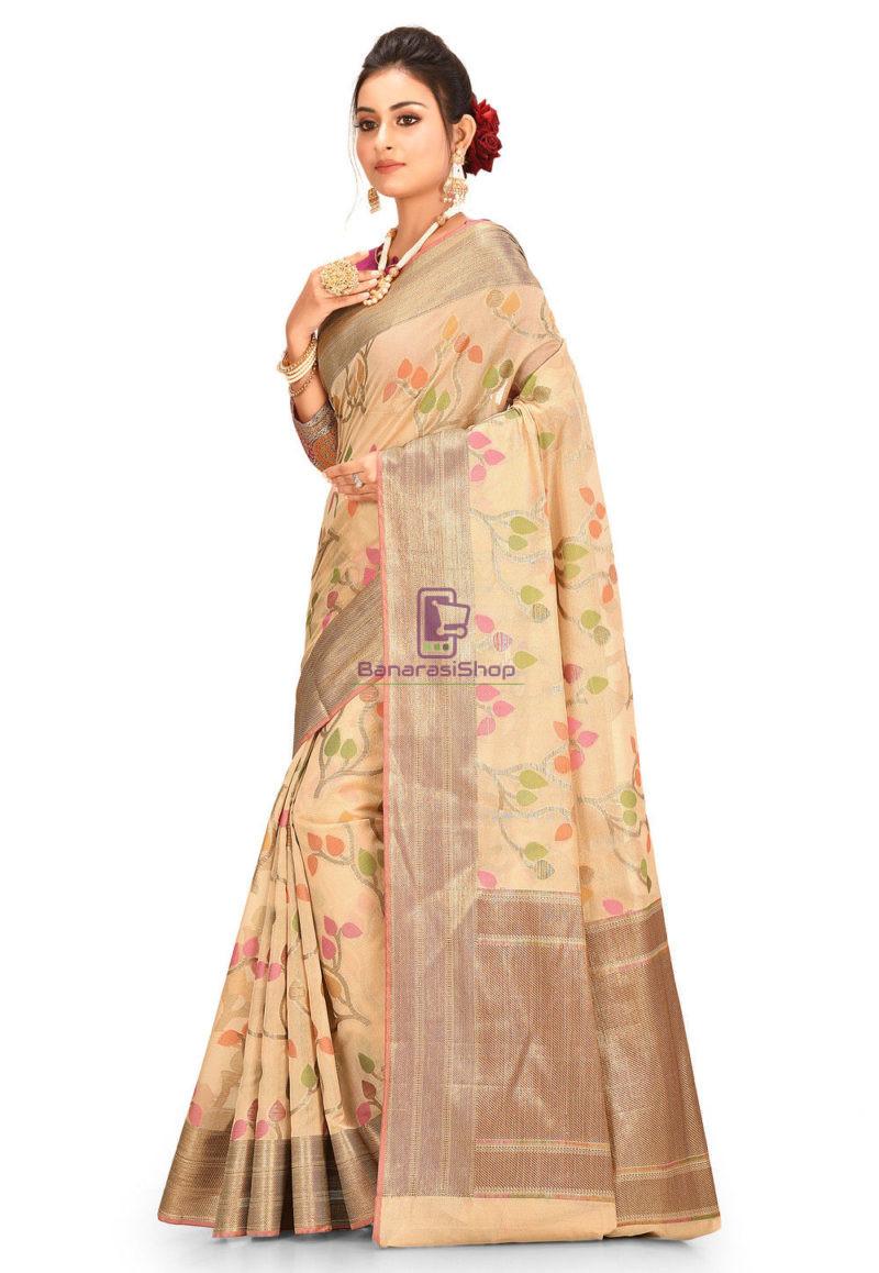 Woven Banarasi Cotton Silk Saree in Beige 2