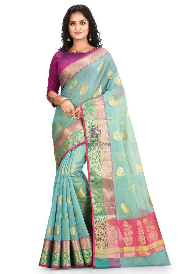 Woven Banarasi Cotton Silk Saree in Blue 1