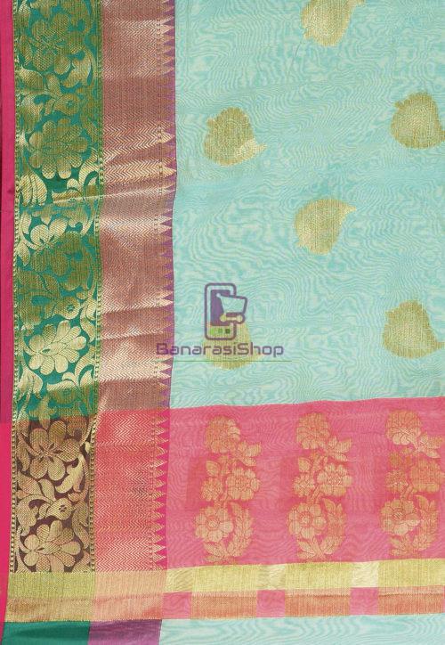 Woven Banarasi Cotton Silk Saree in Blue 6