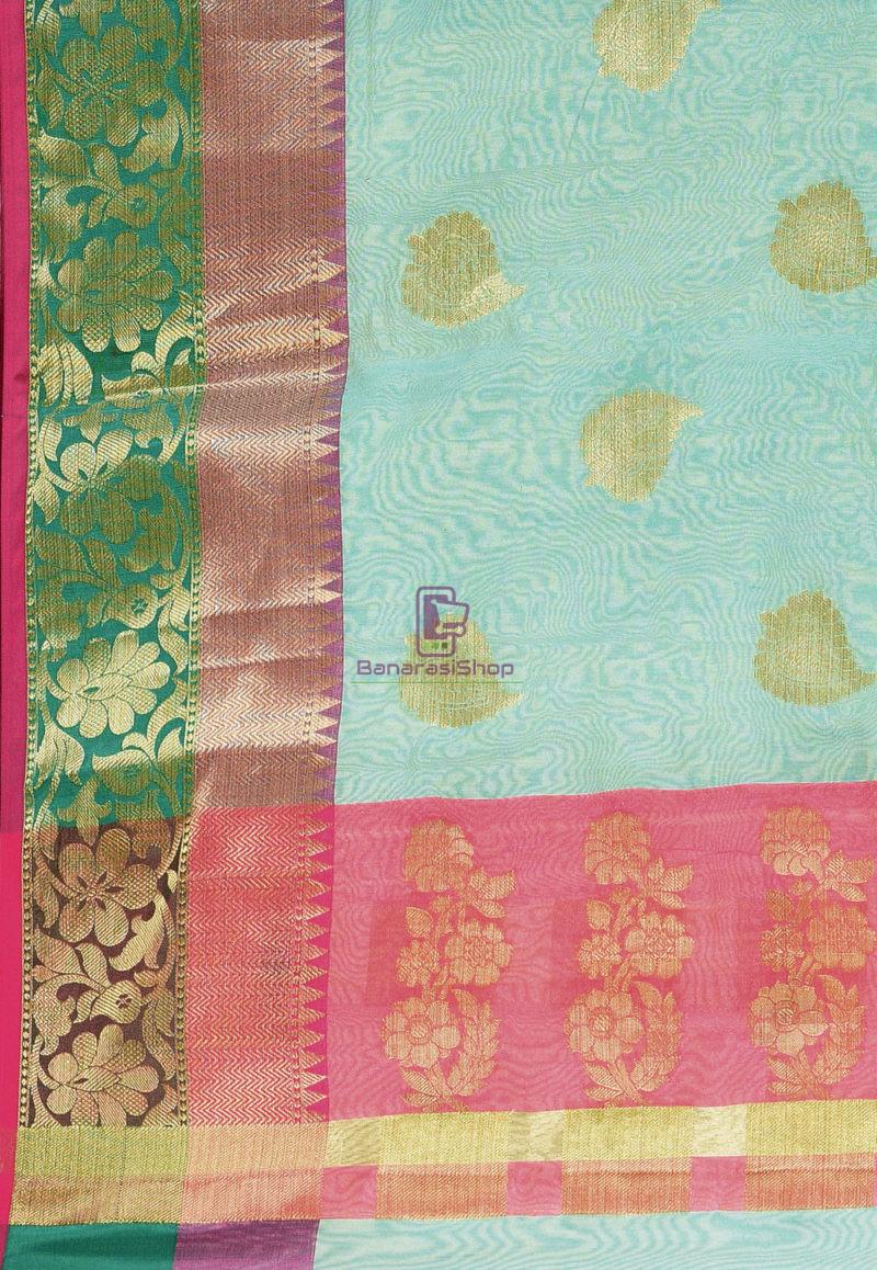 Woven Banarasi Cotton Silk Saree in Blue 3