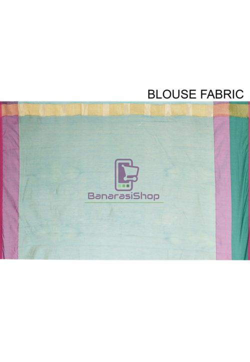 Woven Banarasi Cotton Silk Saree in Blue 7