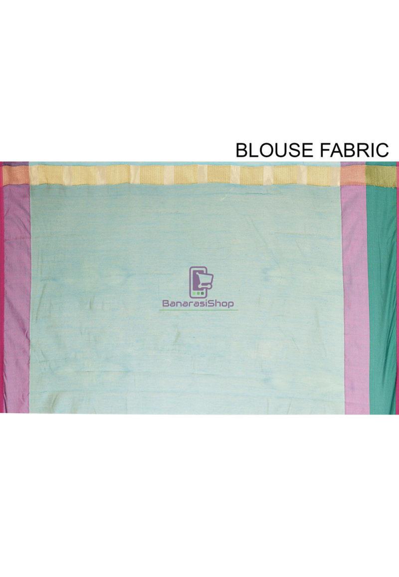 Woven Banarasi Cotton Silk Saree in Blue 4