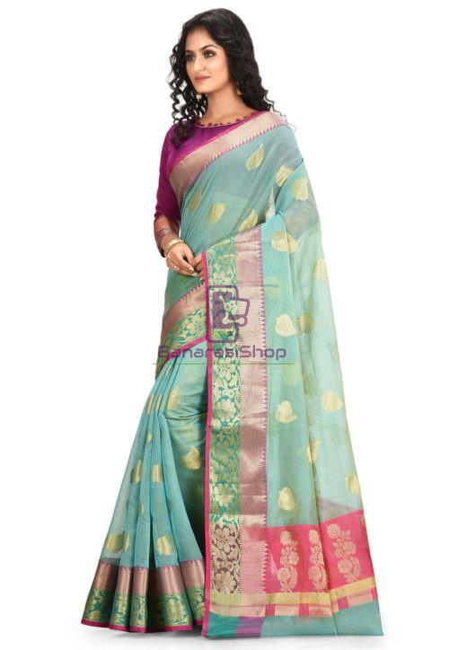 Woven Banarasi Cotton Silk Saree in Blue 5