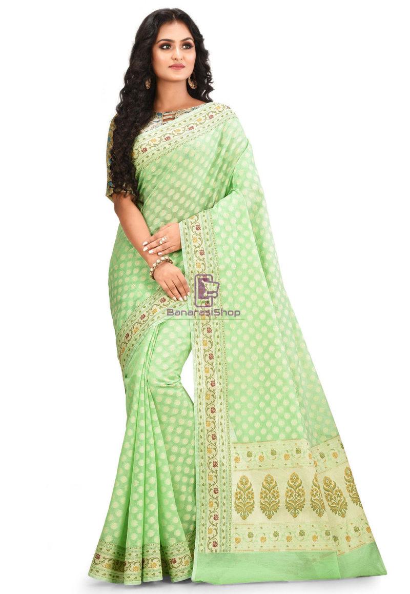 Woven Banarasi Cotton Silk Saree in Green 1