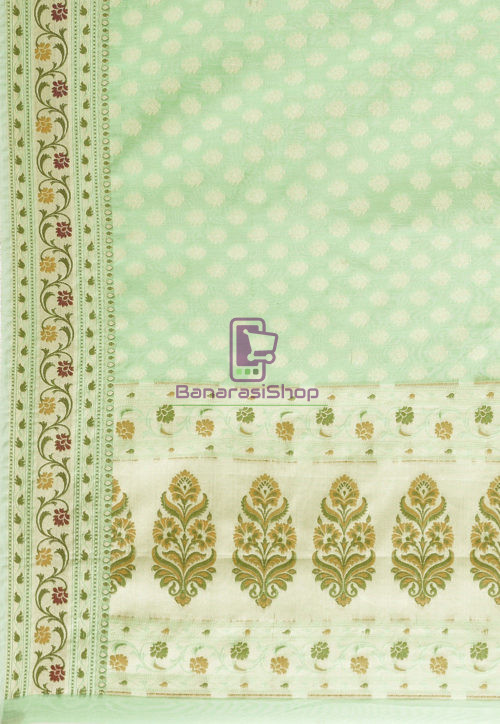 Woven Banarasi Cotton Silk Saree in Green 6