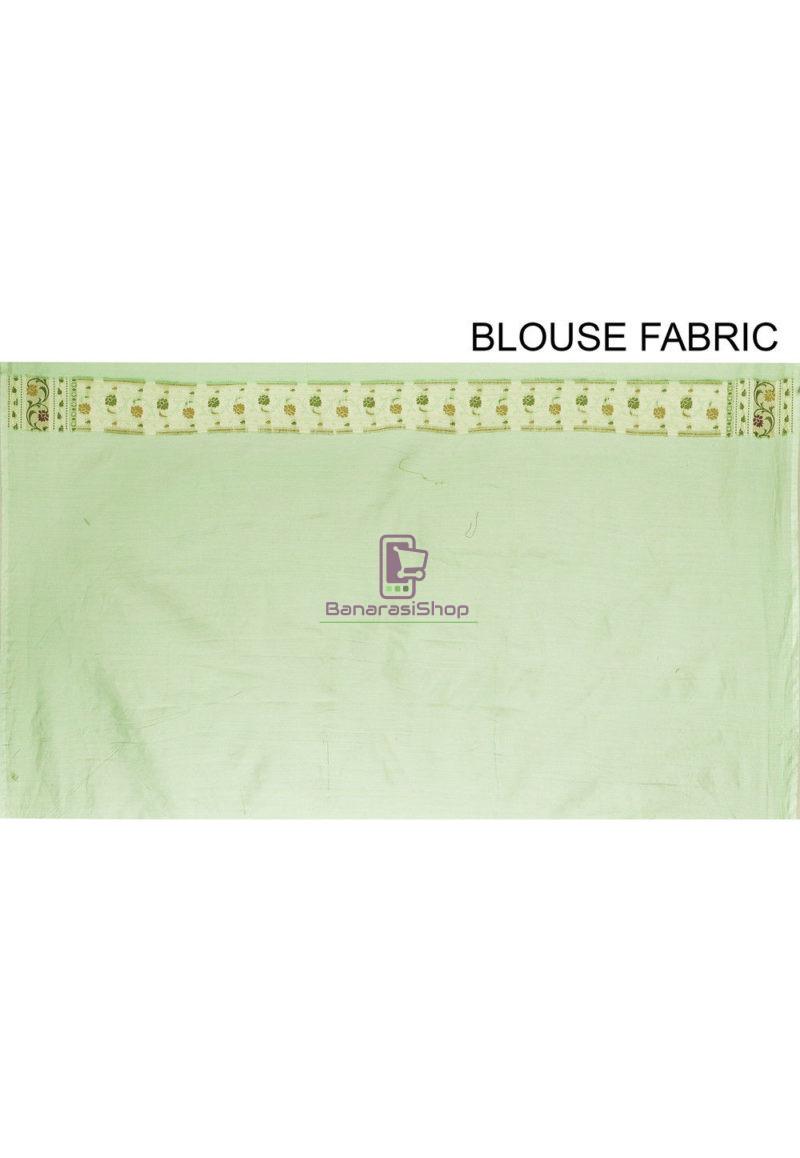 Woven Banarasi Cotton Silk Saree in Green 4