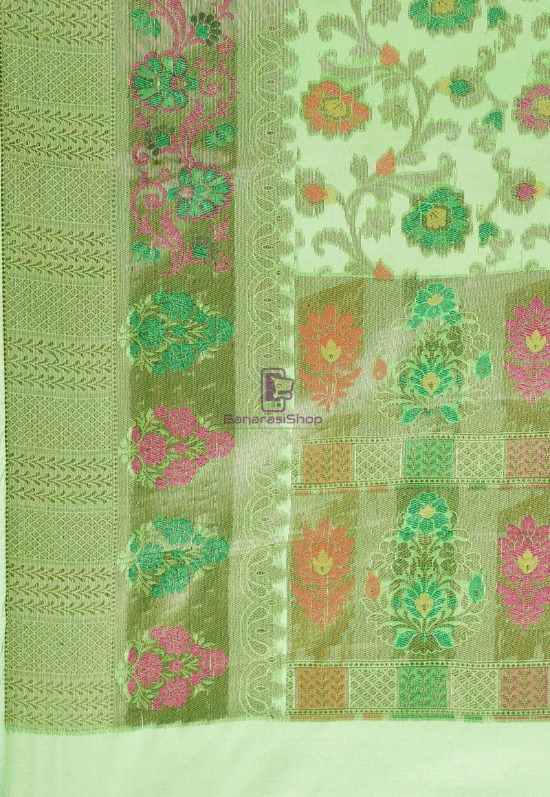 Woven Banarasi Cotton Silk Saree in Green 3