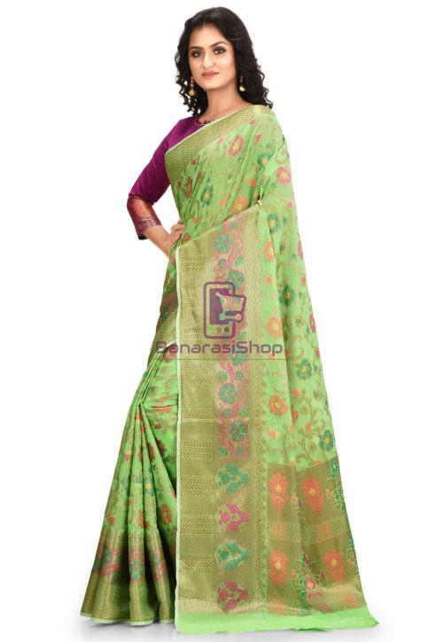 Woven Banarasi Cotton Silk Saree in Green 5