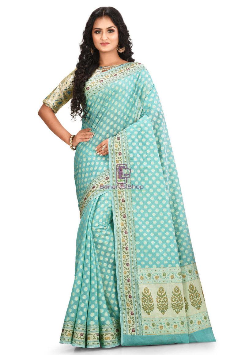 Woven Banarasi Cotton Silk Saree Light Teal Blue 1