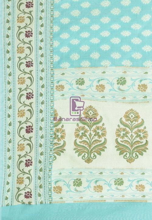 Woven Banarasi Cotton Silk Saree Light Teal Blue 6