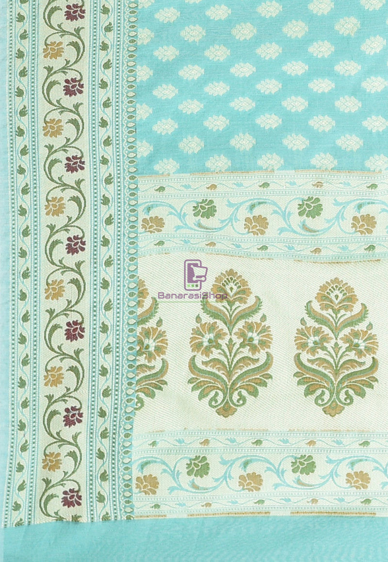 Woven Banarasi Cotton Silk Saree Light Teal Blue 3