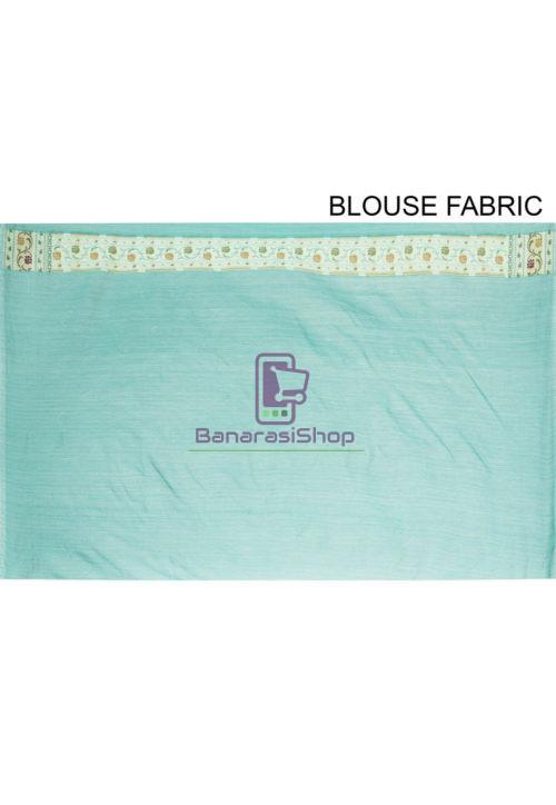 Woven Banarasi Cotton Silk Saree Light Teal Blue 7