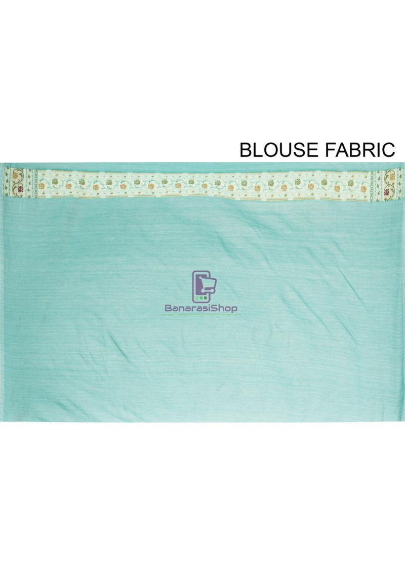 Woven Banarasi Cotton Silk Saree Light Teal Blue 4